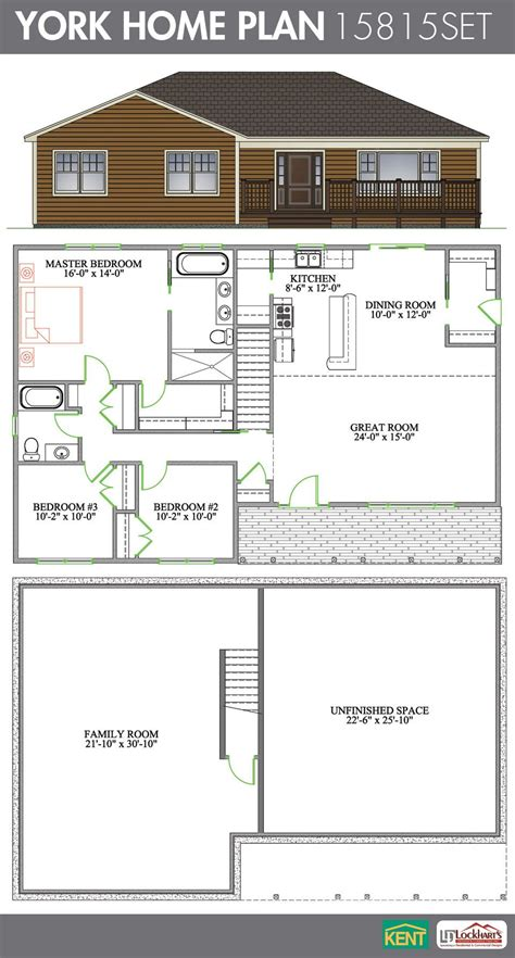 york  bedroom  bathroom home plan features cathedral ceiling   open concept great room