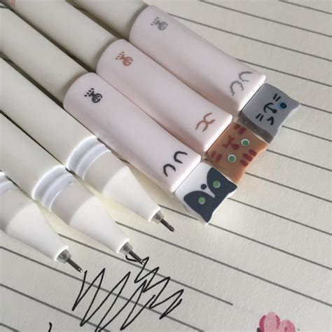 Cat 0 5mm Gel Pen 3 cat black gel pen pens 0 5mm fineliner set kawaii