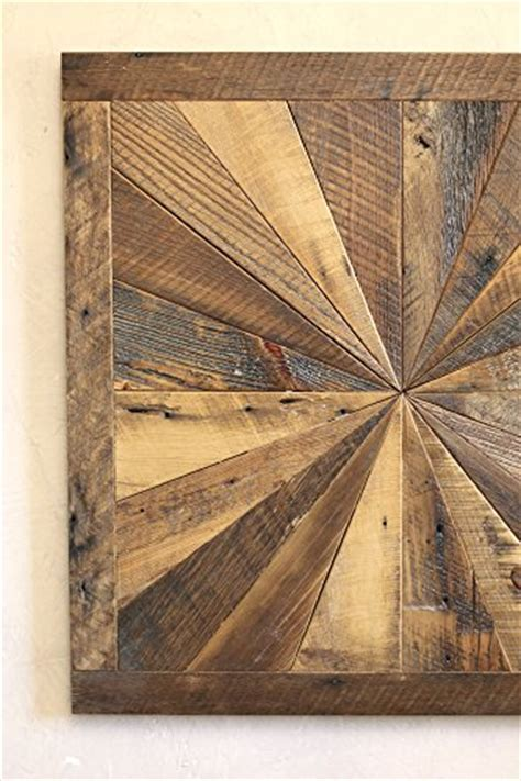 Starburst pattern wall art made from reclaimed wood   Barn