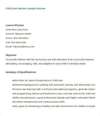 Care Worker Resume Exles by Child Care Resume 6 Free Word Pdf Documents Free Premium Templates