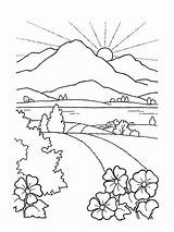 Coloring Pages Drawing Scenery Nature Faith Seek Landscape Sunset Sun Mountain Mountains Beach Drawings Printable Road Sheets Lds Illustration sketch template