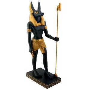 Egyptian God Anubis Statue with Head of a Jackal Dog 8 1/4