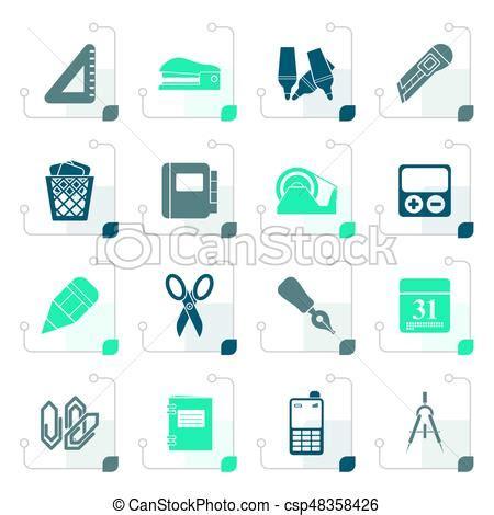 affaire de bureau stylisé objets bureau icones affaires ensemble bureau