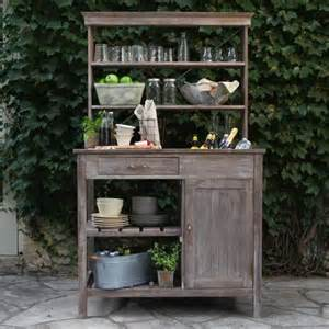 rustic garden storage potting bench driftwood finish
