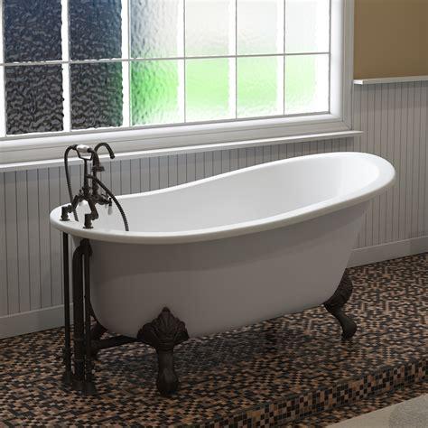 cast iron slipper clawfoot tub    faucet plumbing