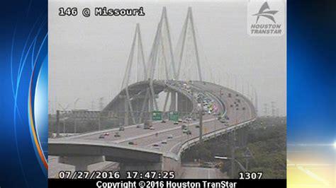 vehicle crash slows traffic  fred hartman bridge