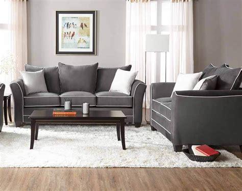 Bing Ash Sofa And Loveseat Set  Fabric Living Room Sets