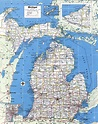 Large detailed administrative map of Michigan state with ...