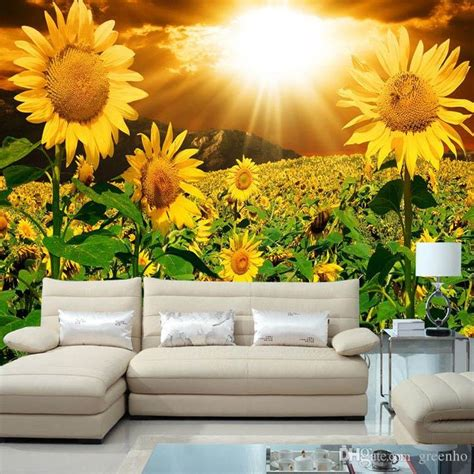 bedroom wall beautiful sunflower photo wallpaper wall