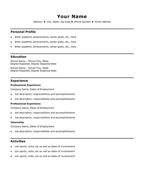 Simple Cv Format For by Curriculum Vitae Format Simple Guatemalago
