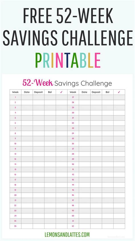 week money challenge printable  money challenge