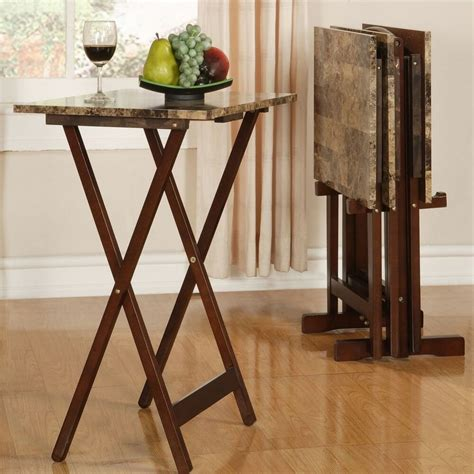 tv tray table set brown faux marble dining snacks crafts