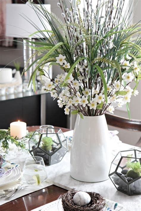 beautiful natural table setting  spring setting