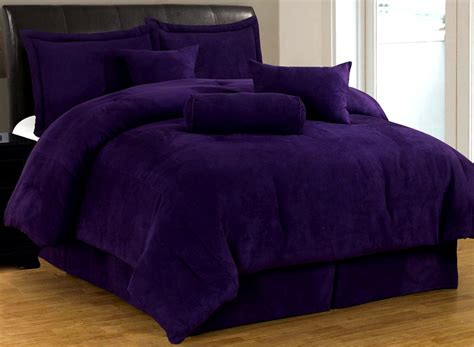 new bed in a bag solid purple suede comforter set twin