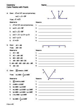 geometry proof practice worksheet with answers geometry intro proofs practice worksheet school worksheets math and school