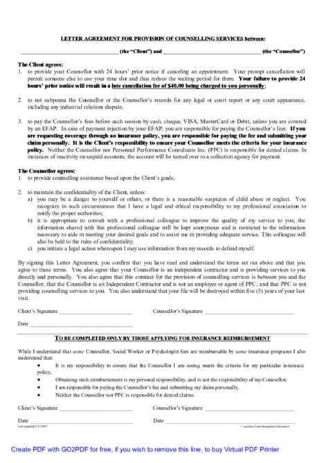 letter agreement  provision  counselling services