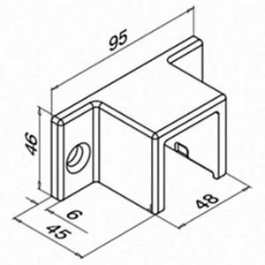 wandflansch fur glasleistenrohr eg hybrid 33x39x45 mm With französischer balkon mit sonnenschirm rechteckig zum kippen