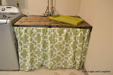 utility sink skirt pattern laundry room makeover part 5 more counter space logic