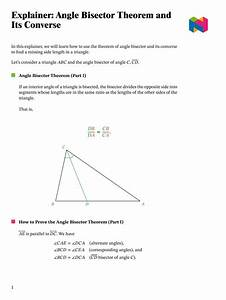 Lesson  Angle Bisector Theorem And Its Converse