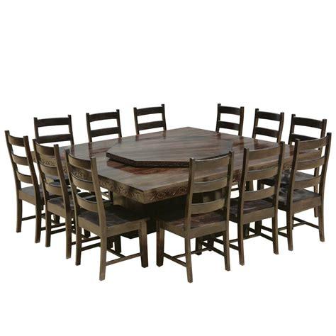 modern pioneer solid wood lazy susan pedestal dining table