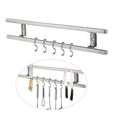 wall mounted  stainless steel magnetic knife holder double bar easy storage knife rack strip