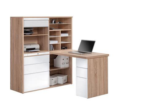 rangement bureau bureau contemporain avec rangement chêne sonoma blanc