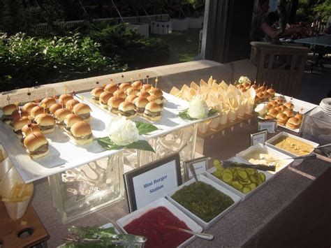 capers catering slider station  french fry cones