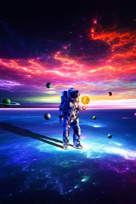 wallpaper astronaut dream surreal colorful planets hd