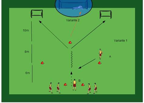 fussballtraining passen mit ballannahme und torschuss