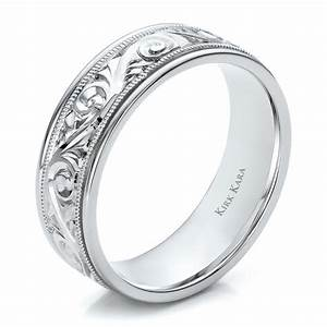 hand engraved men39s wedding band kirk kara 100671 With mens wedding rings engraved