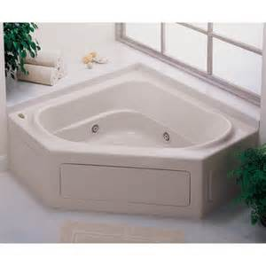 bathroom two persons white fiberglass corner tub mixed brown hardwood wall panel with