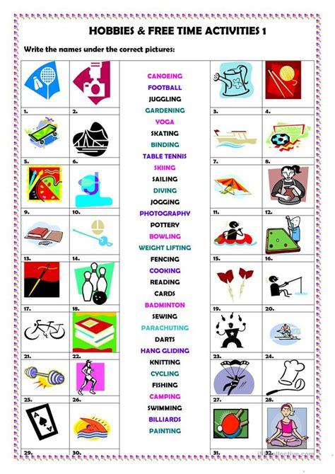 hobbies free time activities 1 worksheet free esl