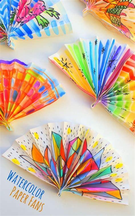 watercolor painted paper fans crafts  kids diy