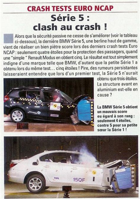 si鑒e auto crash test probleme bmw serie 5 au crash test ncap auto titre