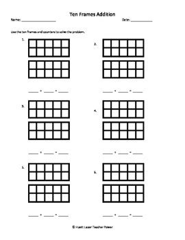 ten frames addition worksheet sums up to 20 by math
