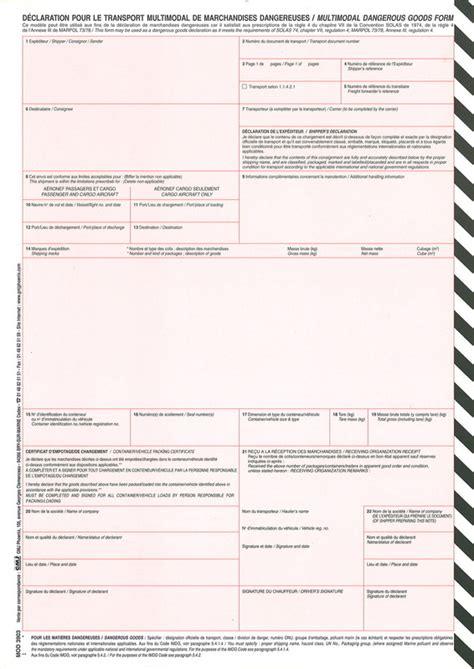classement bureau déclaration pour le transport de marchandises dangereuses