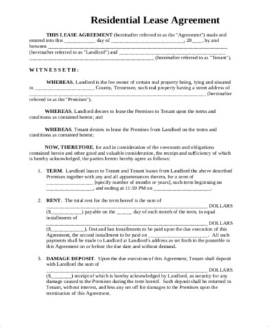 sample generic rental agreement  word