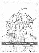 Coloring Three Adult Pagan Witches Pages Friends Sisters Printable Wiccan Therapy Coven Colouring Sold Etsy sketch template