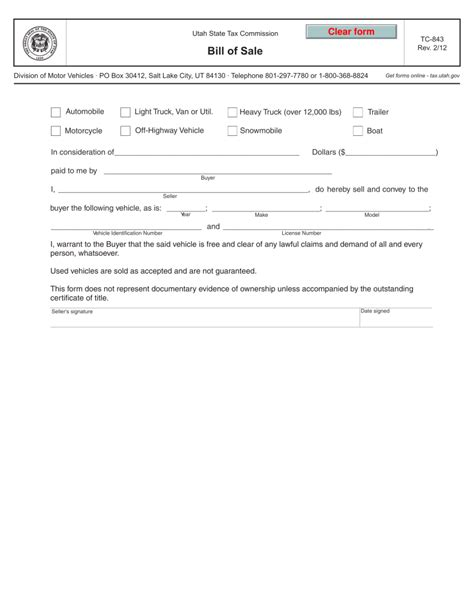 utah car bill of sale form utah automobile motorcycle bill of sale form tc 843
