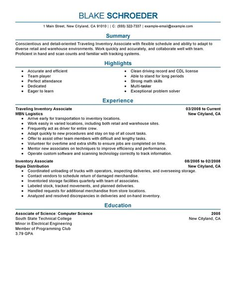Inventory Associate Description Resume by Best Traveling Inventory Associate Resume Exle Livecareer