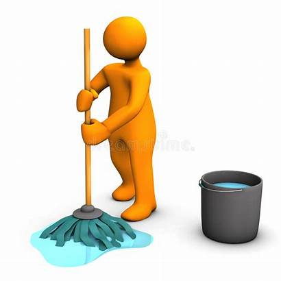 Mop Mopping Floor Person Janitor Cleaner Dust