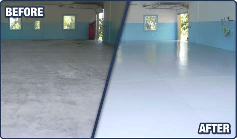 garage floor paint before and after garage floor epoxy coatings sealtech