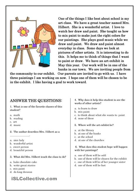 grade reading comprehension worksheets multiple choice