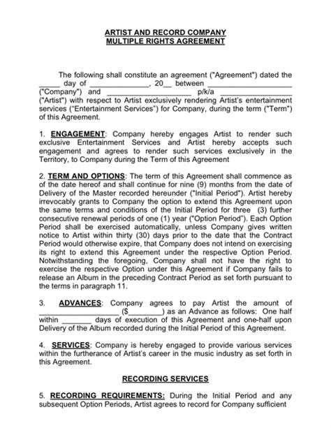 360 Deal Contract Template by Recording Contract Template