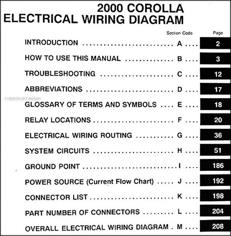 2000 toyota corolla wiring diagram manual original