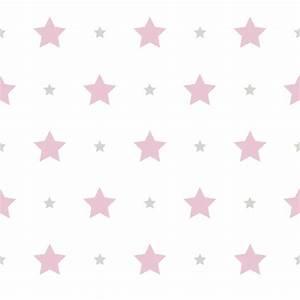 Wallpaper Kids star design Rasch Textil white pink 330136