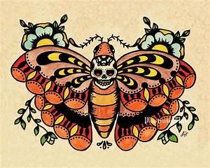 Old School Tattoo Art Death MOTH Skull Print 5 x 7 8 x 10 or