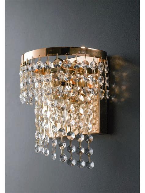 Applique Con Cristalli applique moderno oro con cristalli trasparenti 1 luce lgt