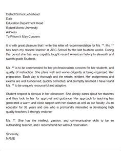 letter  recommendation  middle school student