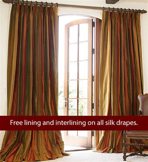 Silk Striped Drapes - striped silk drapes drapestyle